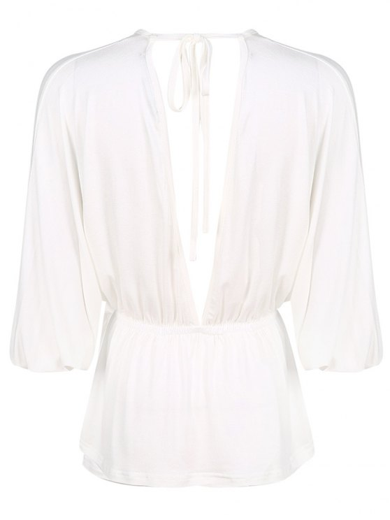 Plunge Neck Dolman Sleeve Shirred Blouse - WHITE S Mobile
