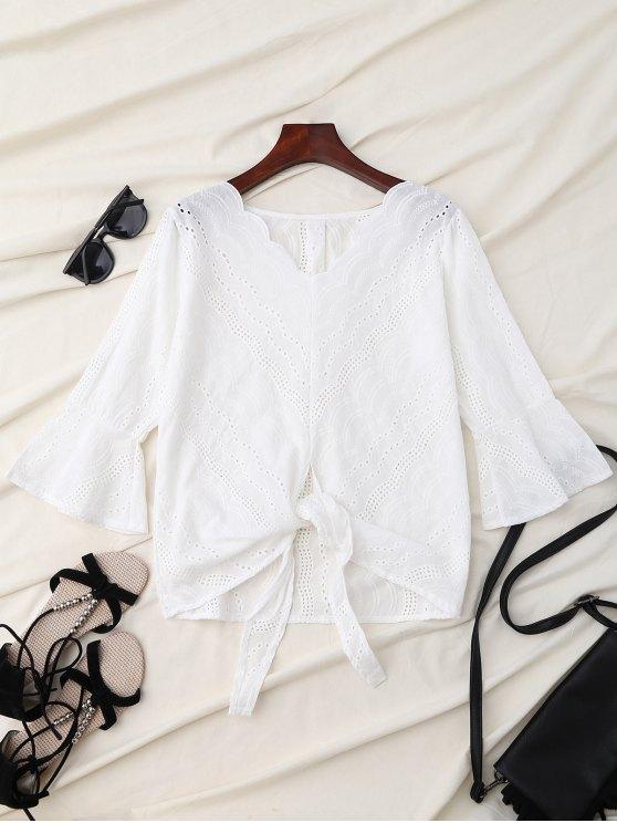 V Neck Front Knot Flare Sleeve Blouse - WHITE M Mobile