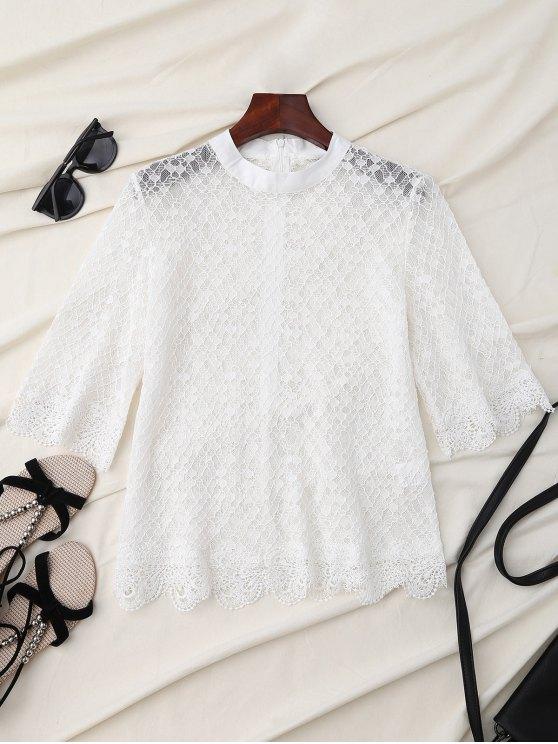 Blusa de encaje con festón - Blanco L