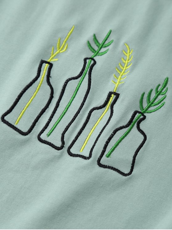 Plant Embroidered T-Shirt - PEA GREEN ONE SIZE Mobile