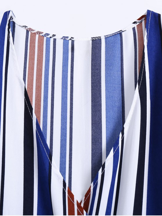 Stripe High Slit Surplice Maxi Dress - BLUE M Mobile