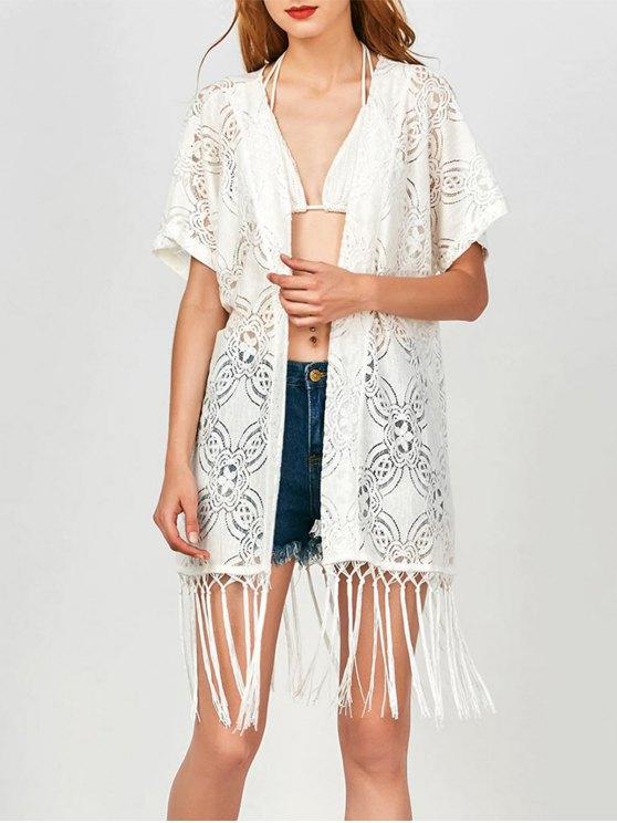 new Fringed  Lace Kimono Wrap Dress - WHITE S