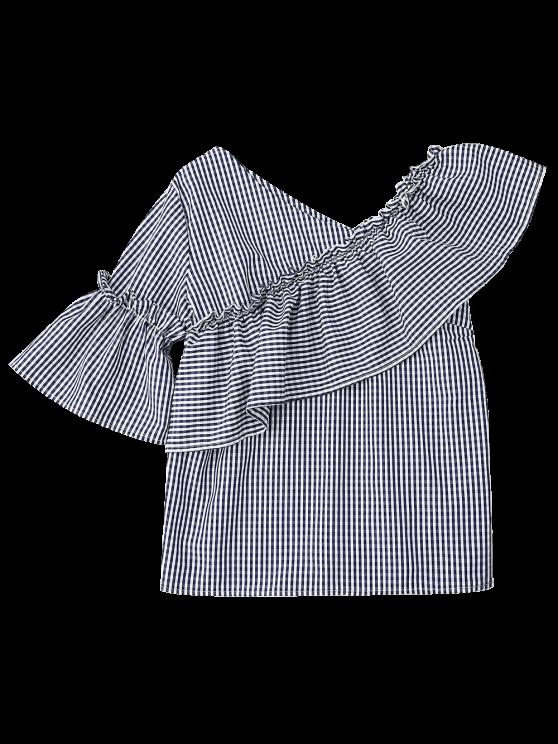 Plaid Ruffle Asymmetric Flare Sleeve Top - COLORMIX S Mobile