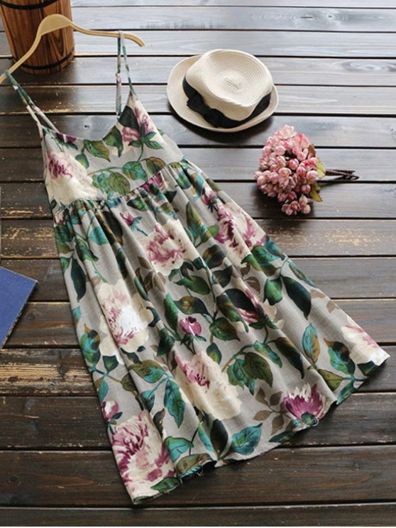 fancy Slip Floral Linen Holiday Dress - GREEN ONE SIZE