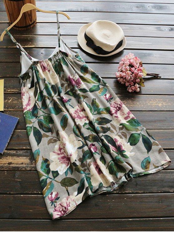 Slip Floral Linen Holiday Dress - GREEN ONE SIZE Mobile