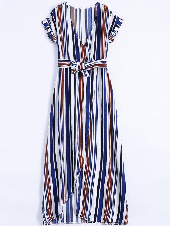 Stripe High Slit Surplice Maxi Dress - Bleu M