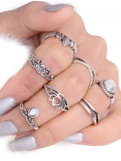 Teardrop Leaf Flower Gypsy Ring Set - Silver