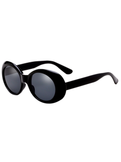 Oval Retro Anti UV Windbreak Sunglasses - Black