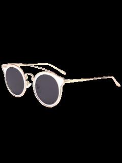 Cat Eye Metal Crossbar Mirrored Sunglasses - Transparent+blue