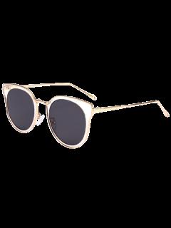 Cat Eye Mirrored Sunglasses - Black Grey