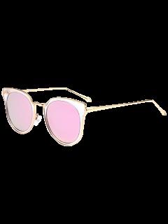 Cat Eye Metal Frame Wrap Mirrored Sunglasses - Pink