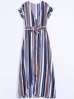 الشريط السامي شق سوربليس فستان ماكسي - أزرق M