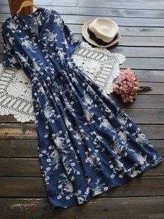 Flower Buttoned Drawstring Waist Shirt Dress - Blue
