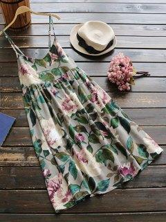Slip Floral Linen Holiday Dress - Green