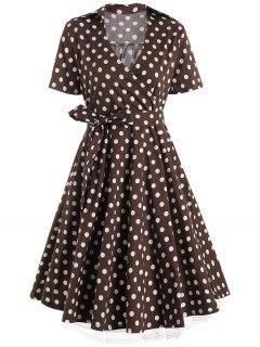 Plus Size A Line Polka Dot Casual Dress - Coffee 5xl