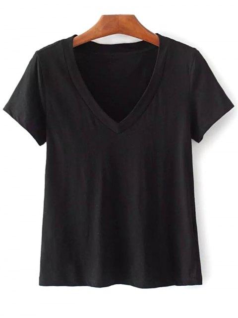 fashion Cotton V Neck T-Shirt - BLACK ONE SIZE Mobile