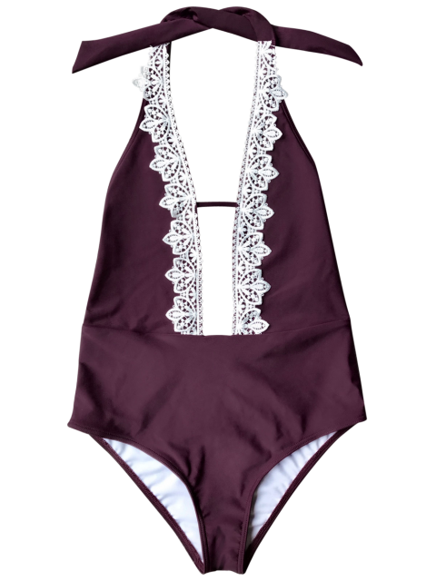 lady Plunging Neck Backless One Piece Swimsuit - BURGUNDY M Mobile