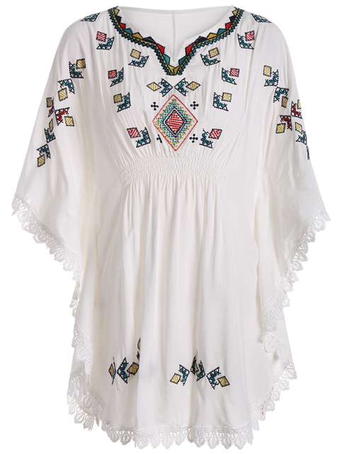 online Embroidered Lace Batwing Sleeve Dress - WHITE ONE SIZE Mobile