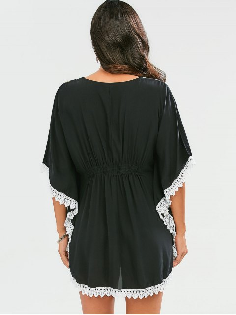 new Embroidered Lace Batwing Sleeve Dress - BLACK ONE SIZE Mobile