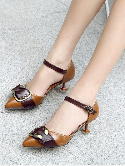 outfit Two Piece Buckle Strap Strange Style Pumps - BROWN 37 Mobile