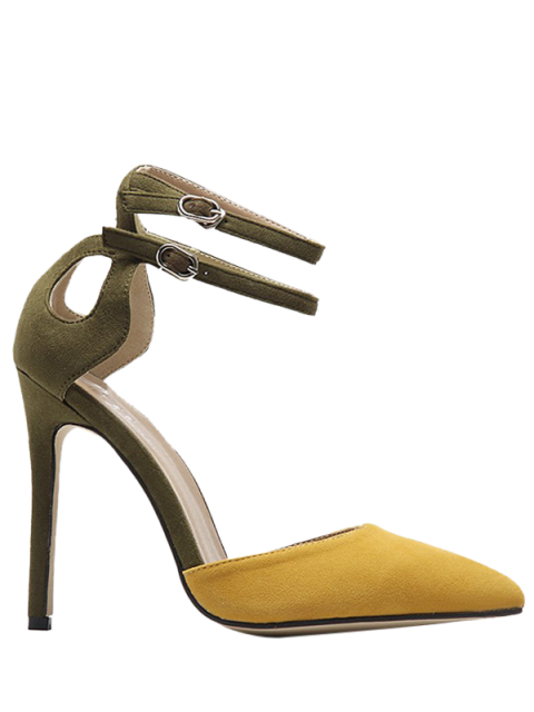 trendy Double Buckle Strap Two Piece Pumps - GINGER 39 Mobile