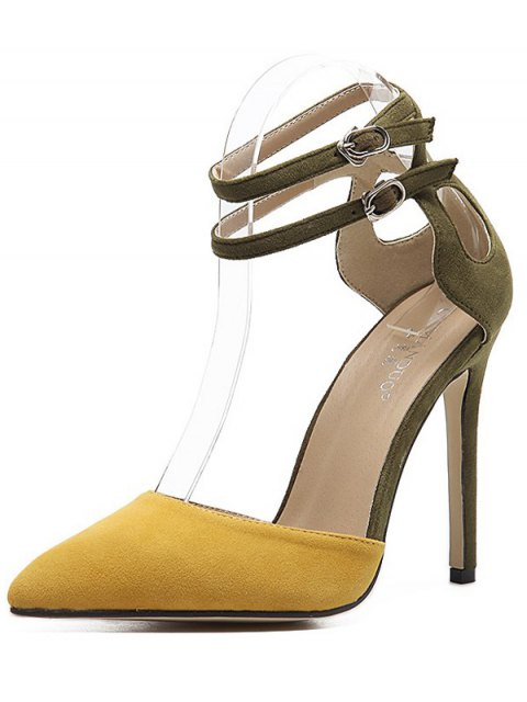 fashion Double Buckle Strap Two Piece Pumps - GINGER 37 Mobile