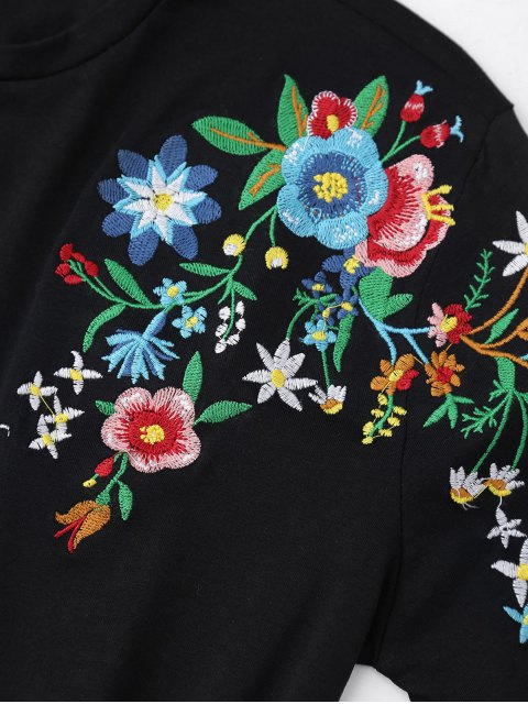ladies Floral Embroidered Short Sleeve T-Shirt - BLACK S Mobile