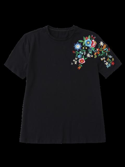 best Floral Embroidered Short Sleeve T-Shirt - BLACK L Mobile