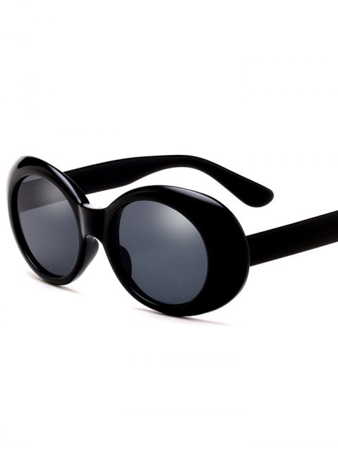 shops Oval Retro Anti UV Windbreak Sunglasses - BLACK  Mobile