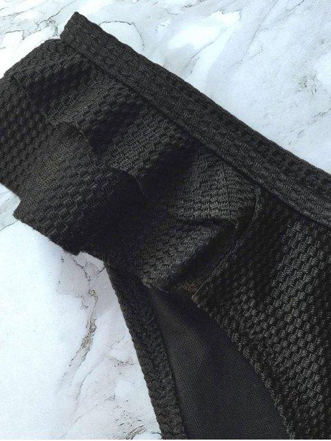 unique Cami Ruffles Push Up Bikini Set - BLACK M Mobile