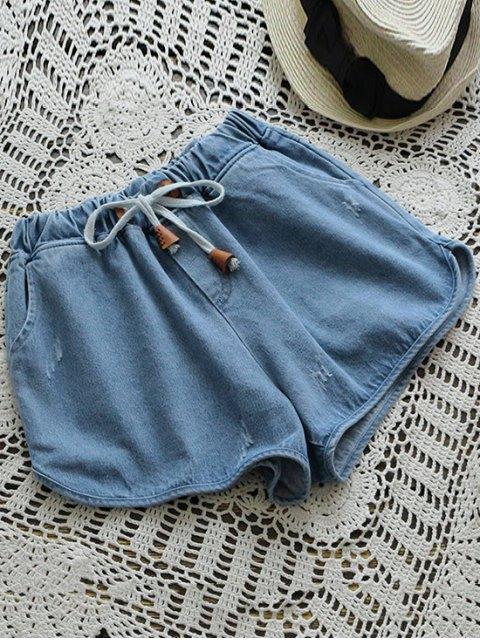 womens Elastic Drawstring Waist Denim Hot Shorts - DENIM BLUE ONE SIZE Mobile