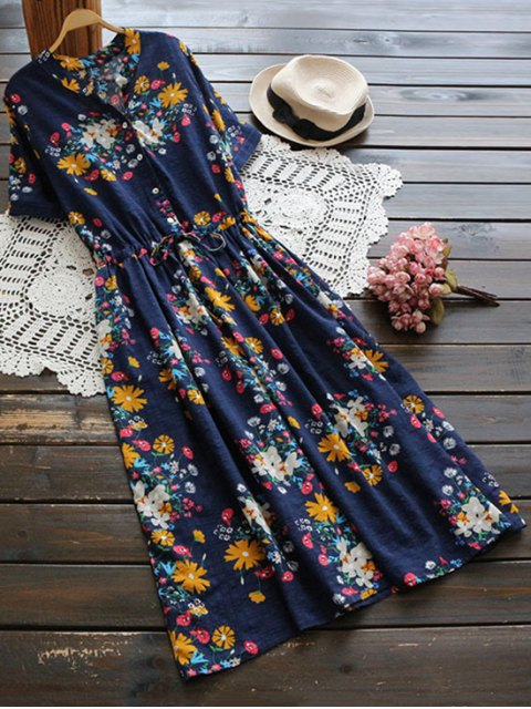 buy Flower Buttoned Drawstring Waist Shirt Dress - CERULEAN ONE SIZE Mobile