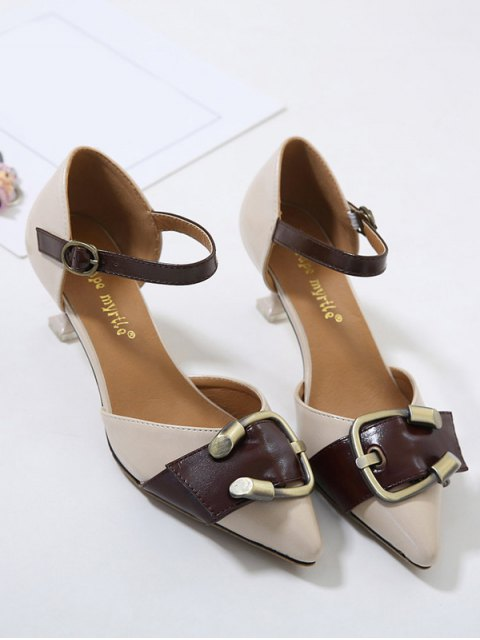 latest Two Piece Buckle Strap Strange Style Pumps - APRICOT 38 Mobile