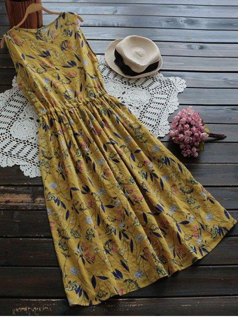 shops Flower Drawstring Waist Sleeveless Linen Dress - GINGER ONE SIZE Mobile