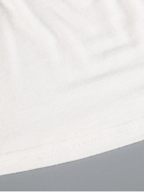 fashion Plunge Neck Dolman Sleeve Shirred Blouse - WHITE L Mobile