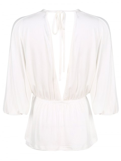chic Plunge Neck Dolman Sleeve Shirred Blouse - WHITE M Mobile