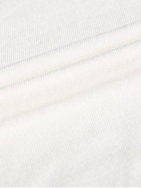 fancy Plunge Neck Dolman Sleeve Shirred Blouse - WHITE S Mobile