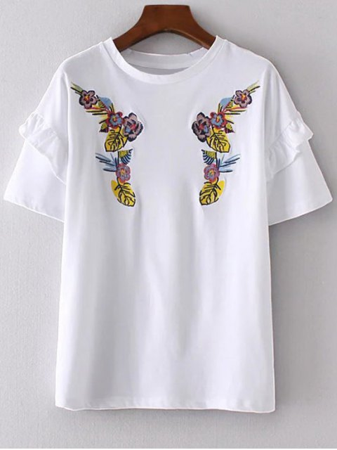 best Ruffles Embroidered T-Shirt - WHITE M Mobile