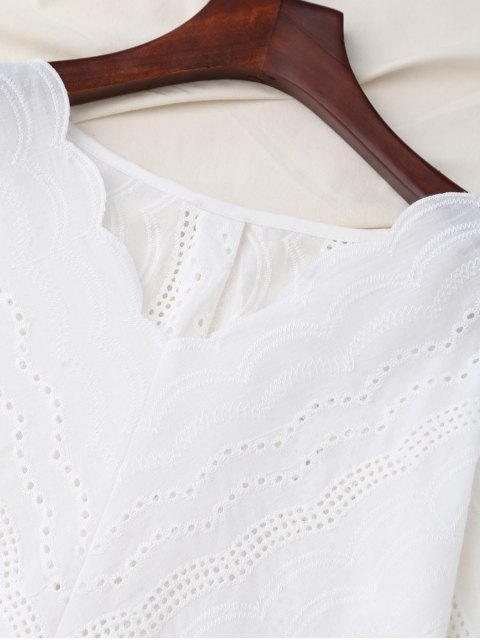 sale V Neck Front Knot Flare Sleeve Blouse - WHITE M Mobile