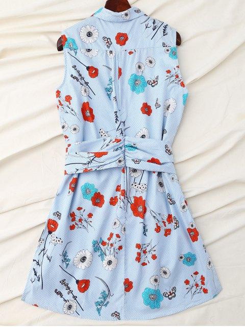 ladies Floral Striped Shirt Dress With Sleeve Belt - BLUE L Mobile