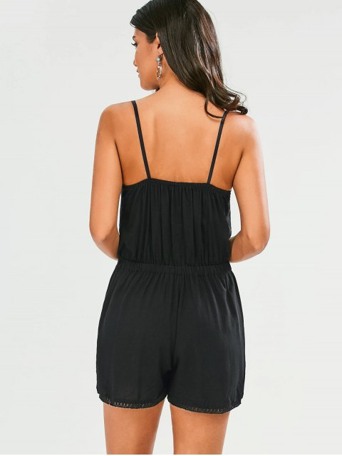 fashion Embroidered Spaghetti Straps Romper - BLACK M Mobile