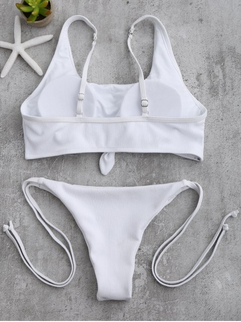 best Cami Bralette String Bikini Set - WHITE S Mobile