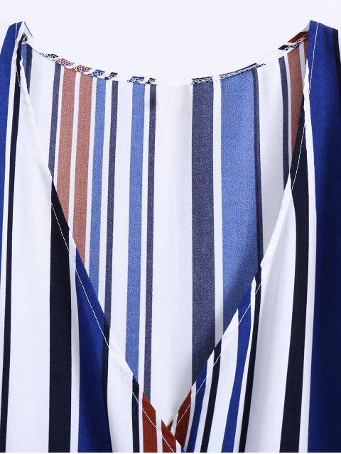 ladies Stripe High Slit Surplice Maxi Dress - BLUE S Mobile