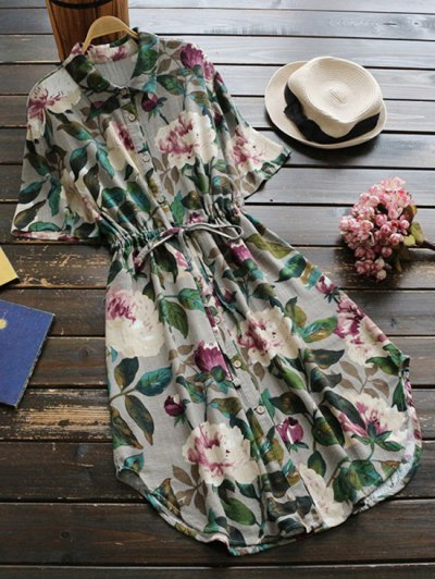 Button Up Floral Drawstring Waist Linen Dress - Green