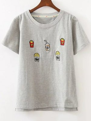 Cute Embroidered T-Shirt - Gray