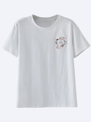 Cotton Embroidered T-Shirt - White