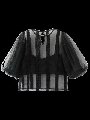 See-Through Lace Trim Blouse - Black