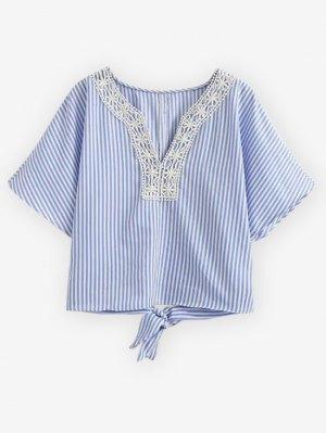 Striped Lace Trim Blouse - Light Blue
