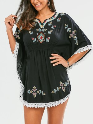 Embroidered Lace Batwing Sleeve Dress - Black