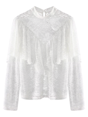 Layered See-Through Lace Blouse - White